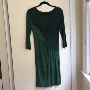 Dunia Women's Dress Long Sleeve Green Black Sz S